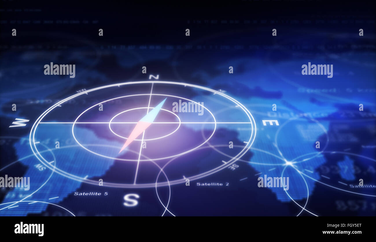 Compass, numbers and world map - Stock Image