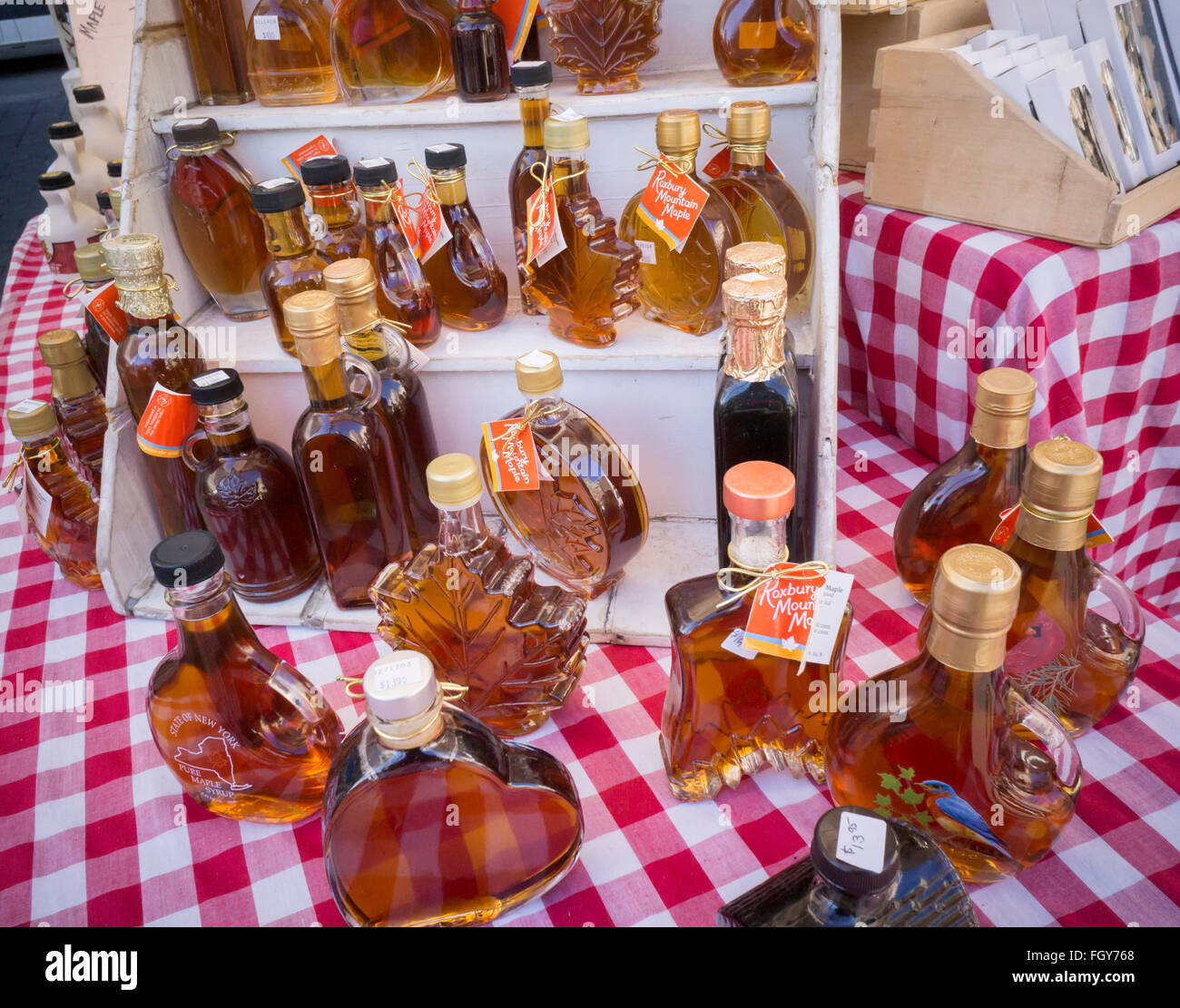 062b1278f83 Decorative bottles of genuine New York State maple syrup for sale in the  Union Square Greenmarket