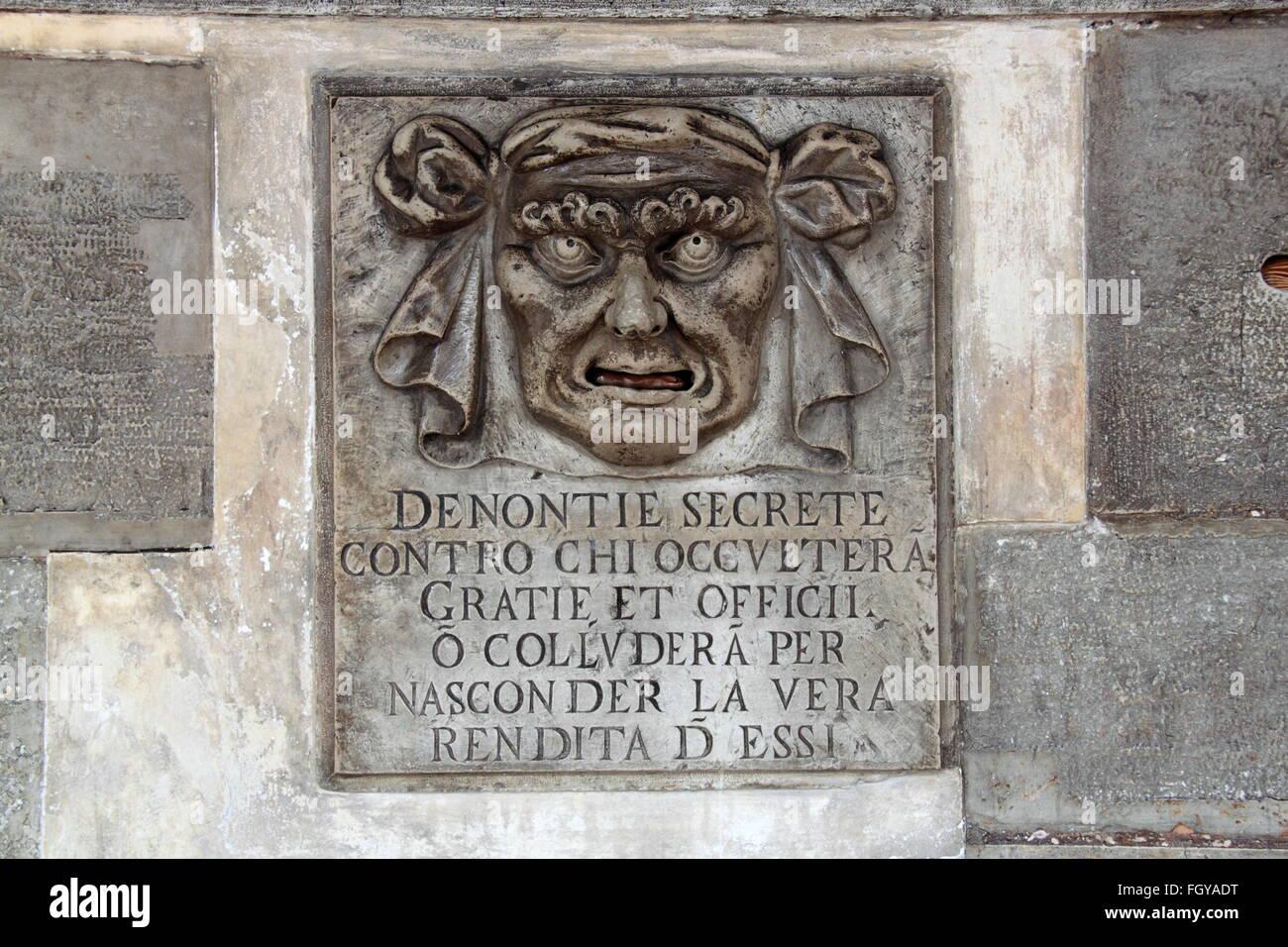 Bocca di Leone (Lion's Mouth), Palazzo Ducale (Doge's Palace), Piazza San Marco, Venice, Veneto, Italy, Adriatic Stock Photo