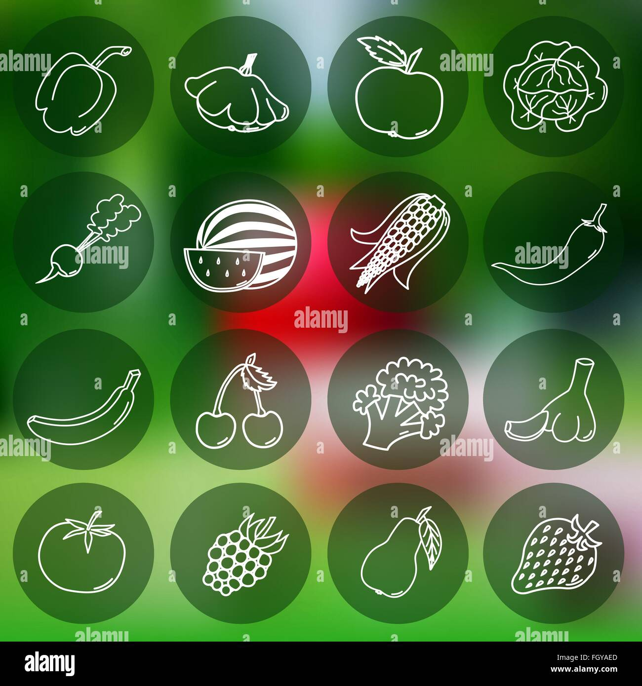 Thin line icons of different fruits and vegetables on mesh background - Stock Vector