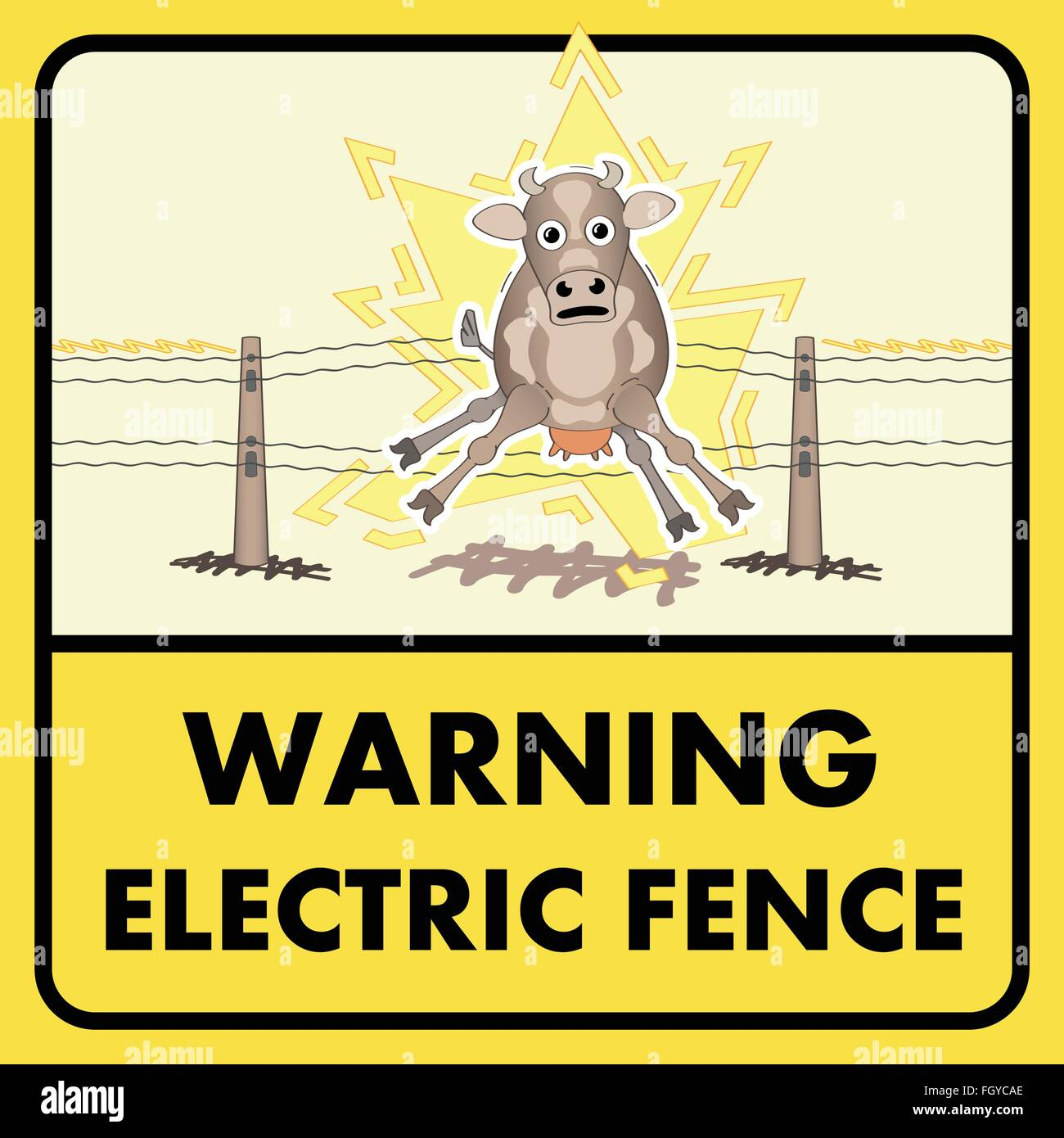 Electric fence sign - Stock Vector