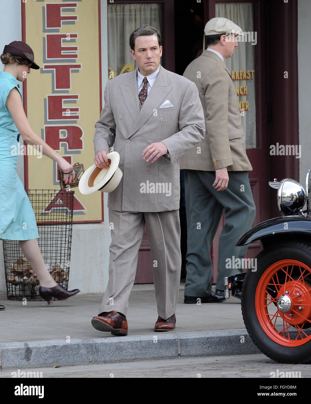 Actor Ben Affleck Wearing 1920s Attire For A Scene In His Upcoming