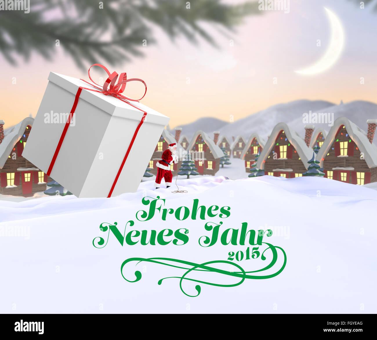 Composite image of santa delivering large gift - Stock Image
