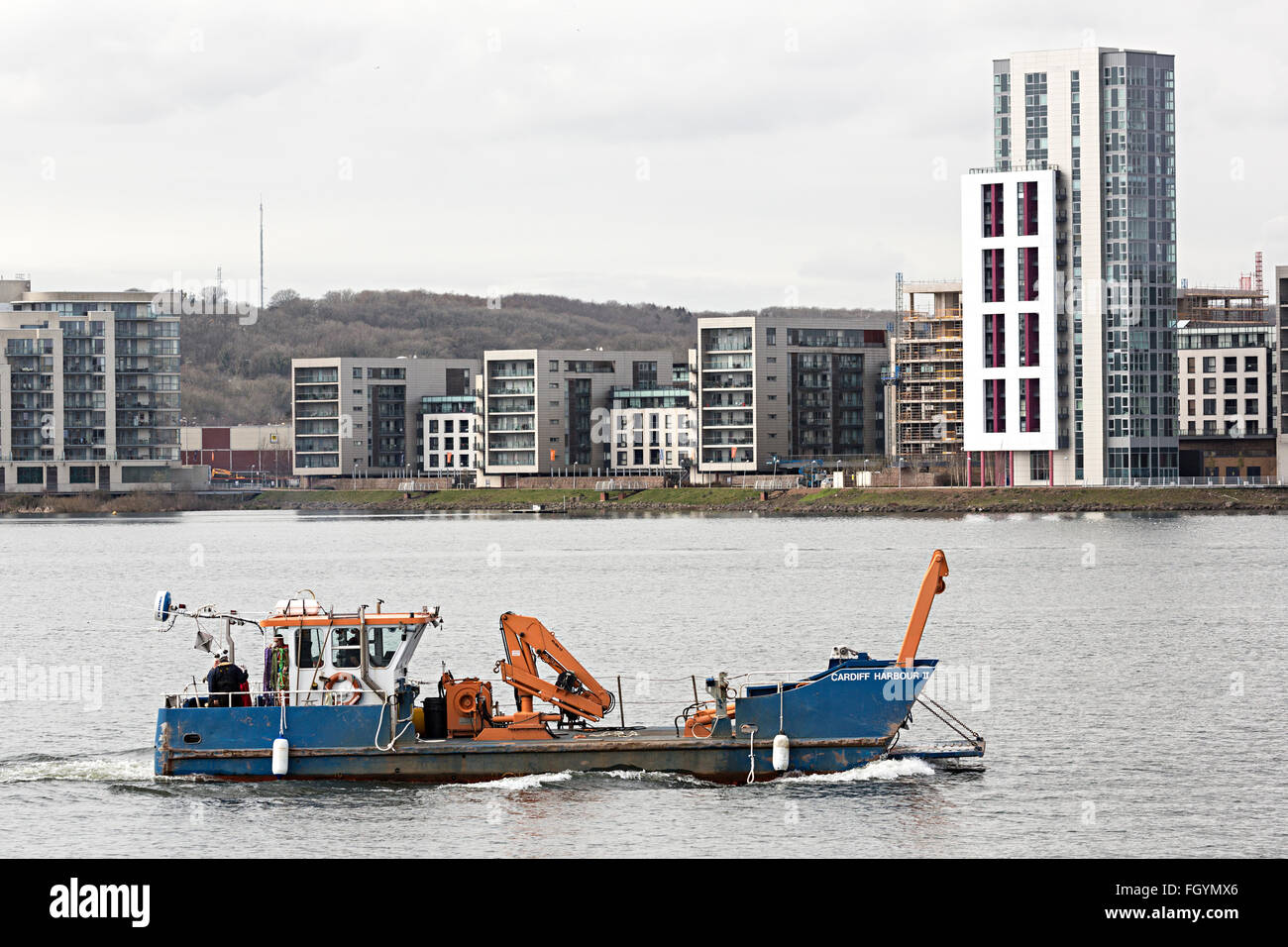 Cardiff Harbour II dredging and maintenance boat, Cardiff Bay, Wales, UK - Stock Image