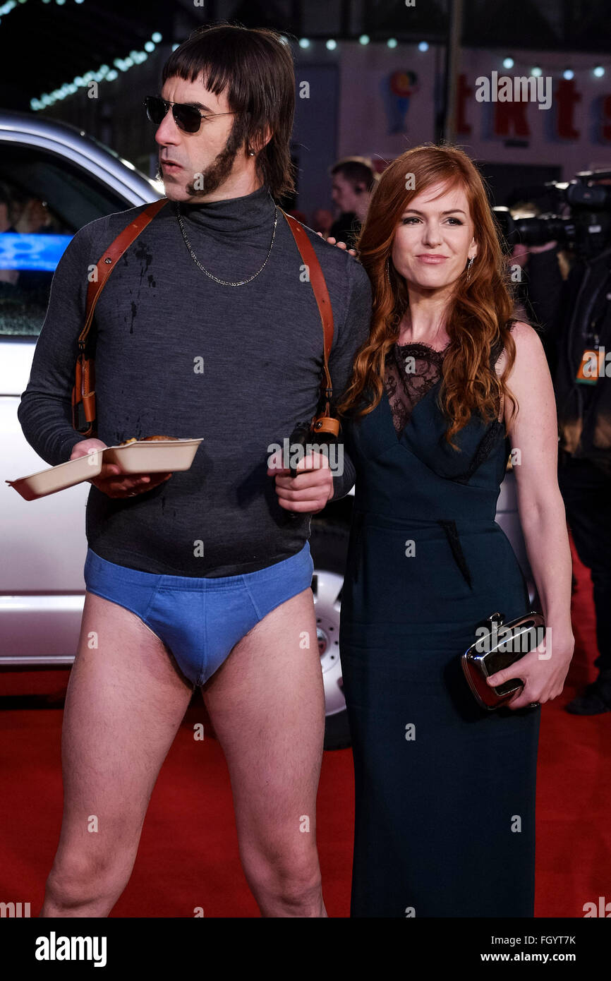 The World Premiere of Grimsby on 22/02/2016 at ODEON Leicester Square, London. Pictured: Sacha Baron Cohen, Isla - Stock Image