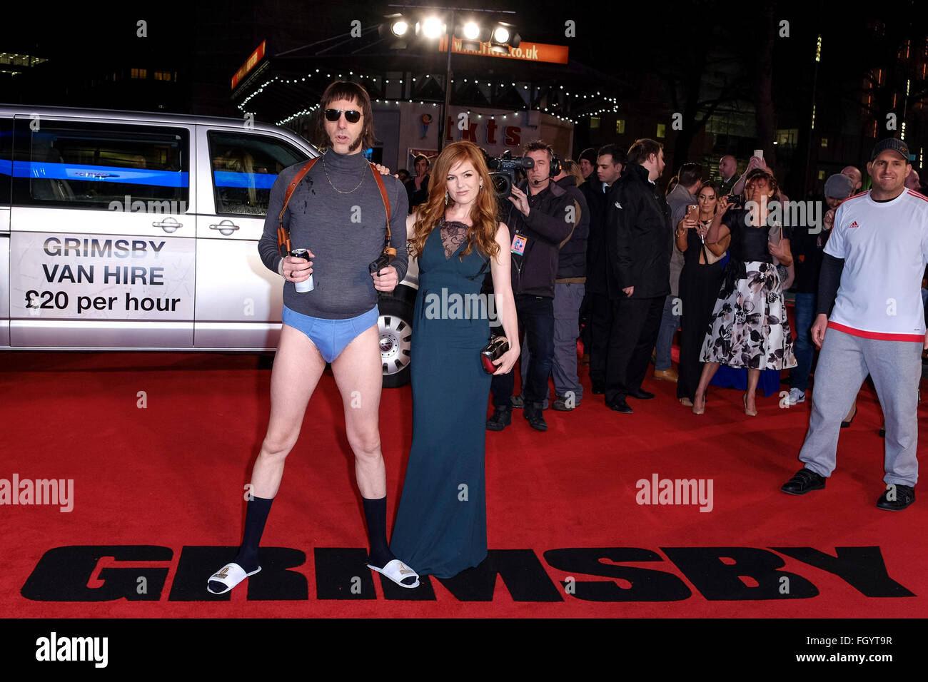 The World Premiere of Grimsby on 22/02/2016 at ODEON Leicester Square, London. Pictured: Sacha Baron Cohen as Nobby - Stock Image