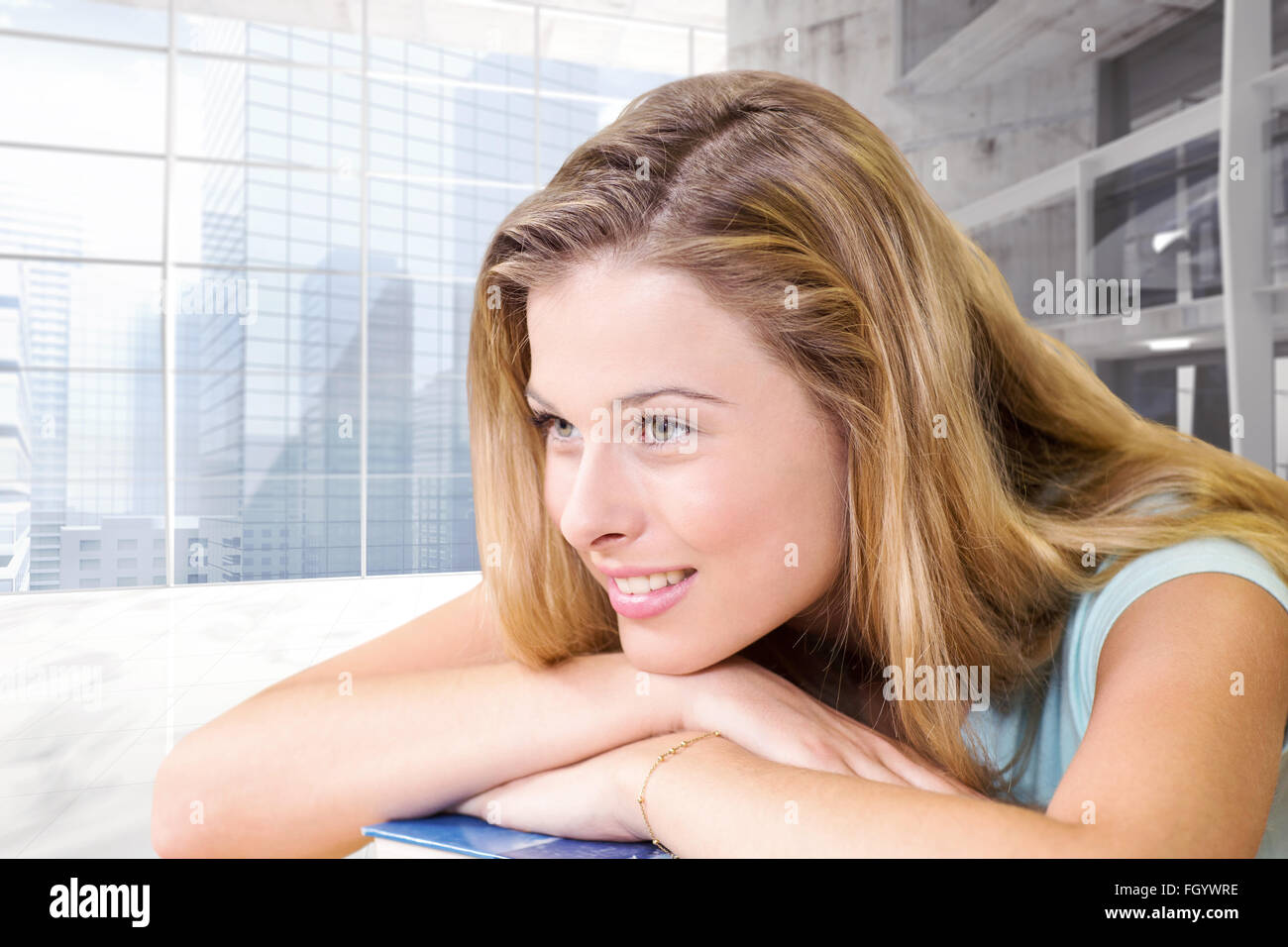 Composite image of thoughtful pretty female student in library - Stock Image