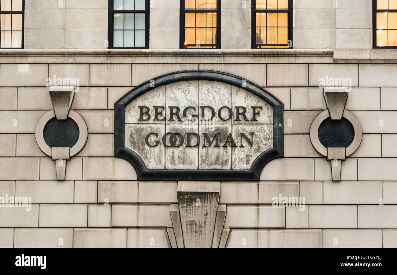 Close up of the plaque / sign at the historic art deco Bergdorf Goodman department store on Fifth Avenue in NYC Stock Photo