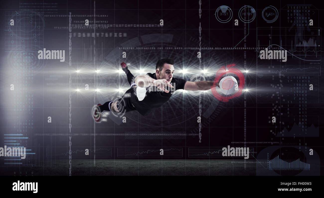 Composite image of rugby player scoring a try Stock Photo