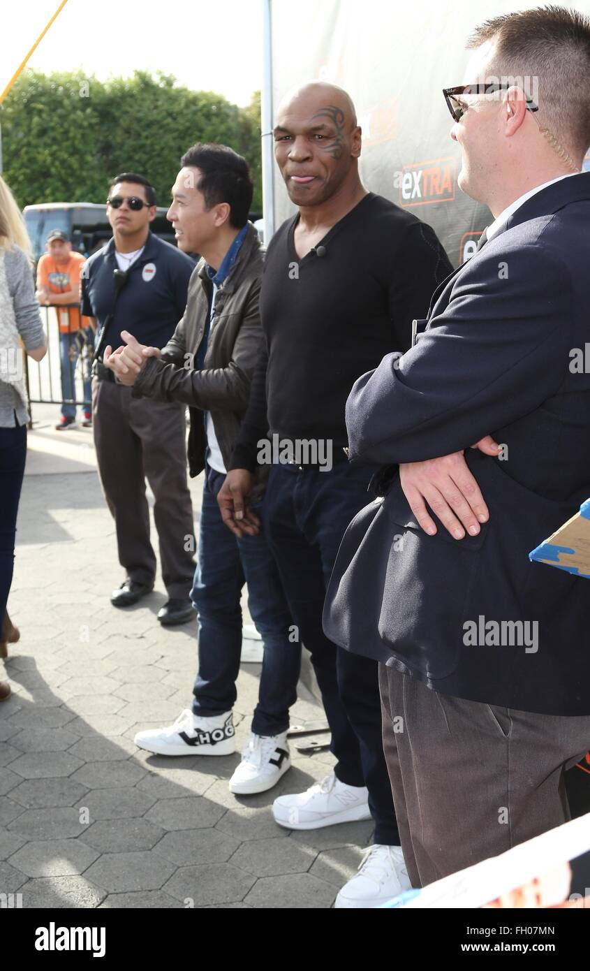 Celebrities at Universal Studios Hollywood for an appearance on 'Extra' in Universal City  Featuring: Mike - Stock Image