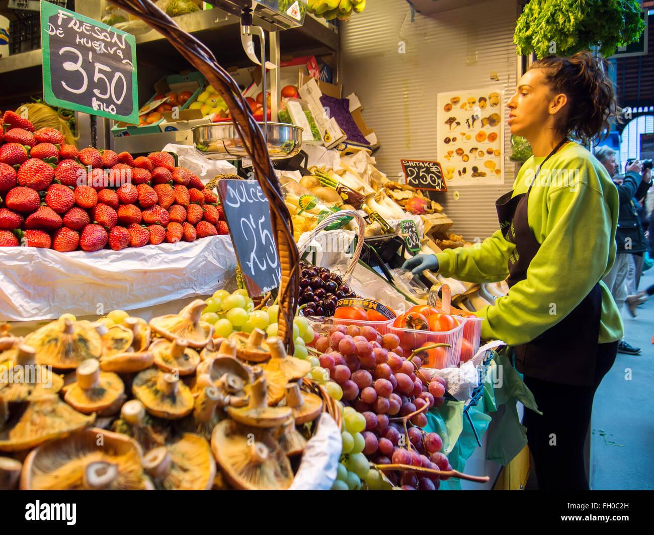 Fresh fruit and vegetables Mercado Atarazanas, spanish market Malaga city, Costa del Sol. Andalusia southern Spain - Stock Image