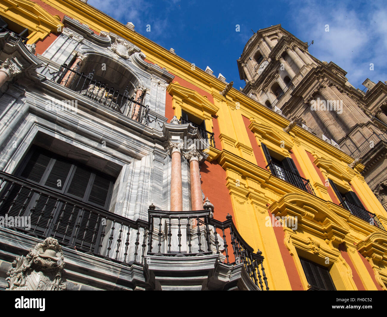 Episcopal Bishop Palace and Cathedral, Malaga city Costa del Sol. Andalusia southern Spain - Stock Image