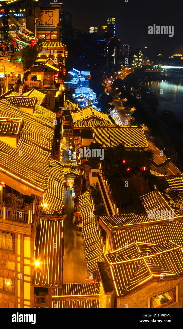 Chongqing, China - Night view of Hongyadong Block, the famous tour spot of Chongqing. - Stock Image
