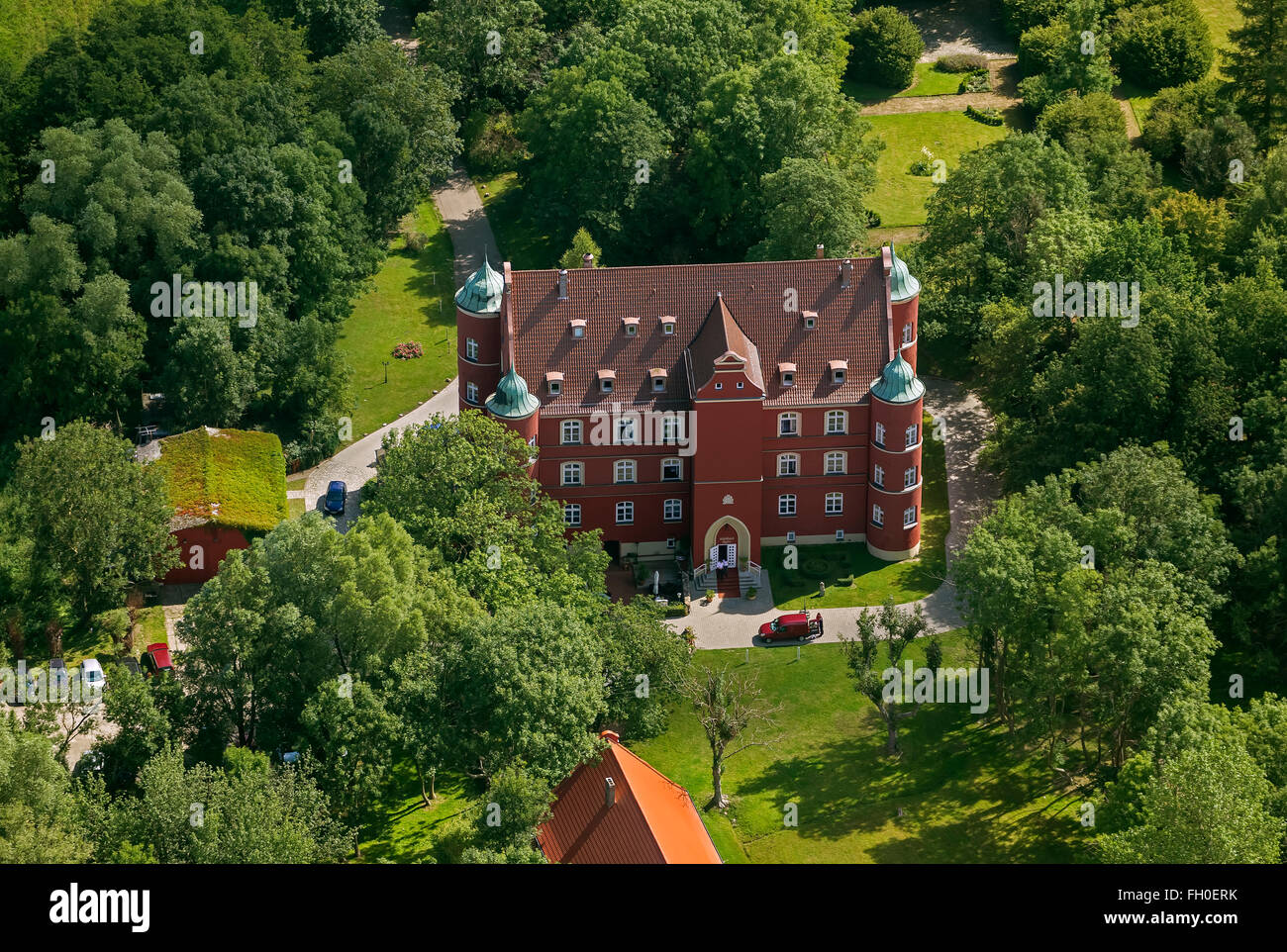 Aerial view, Castle Hotel, Castle Spyker, Sweden Key, Glowe, Rügen, Mecklenburg-Vorpommern, Germany, Europe, - Stock Image