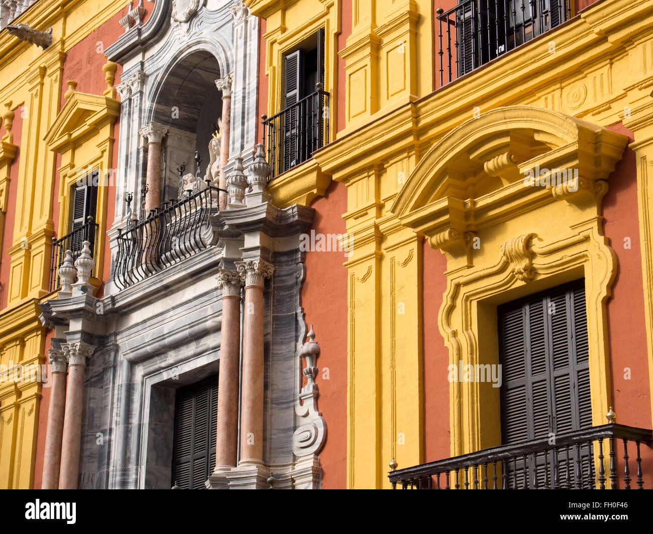Episcopal Bishop Palace, Malaga city Costa del Sol. Andalusia southern Spain - Stock Image