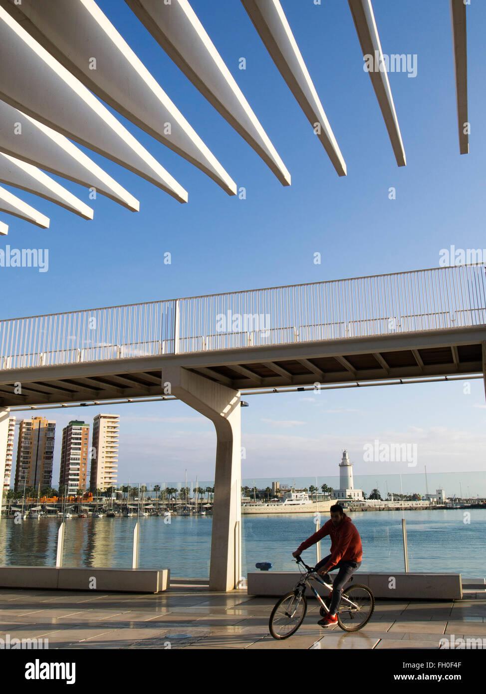 Muelle Uno seaside promenade port, Malaga city Costa del Sol. Andalusia southern Spain Stock Photo