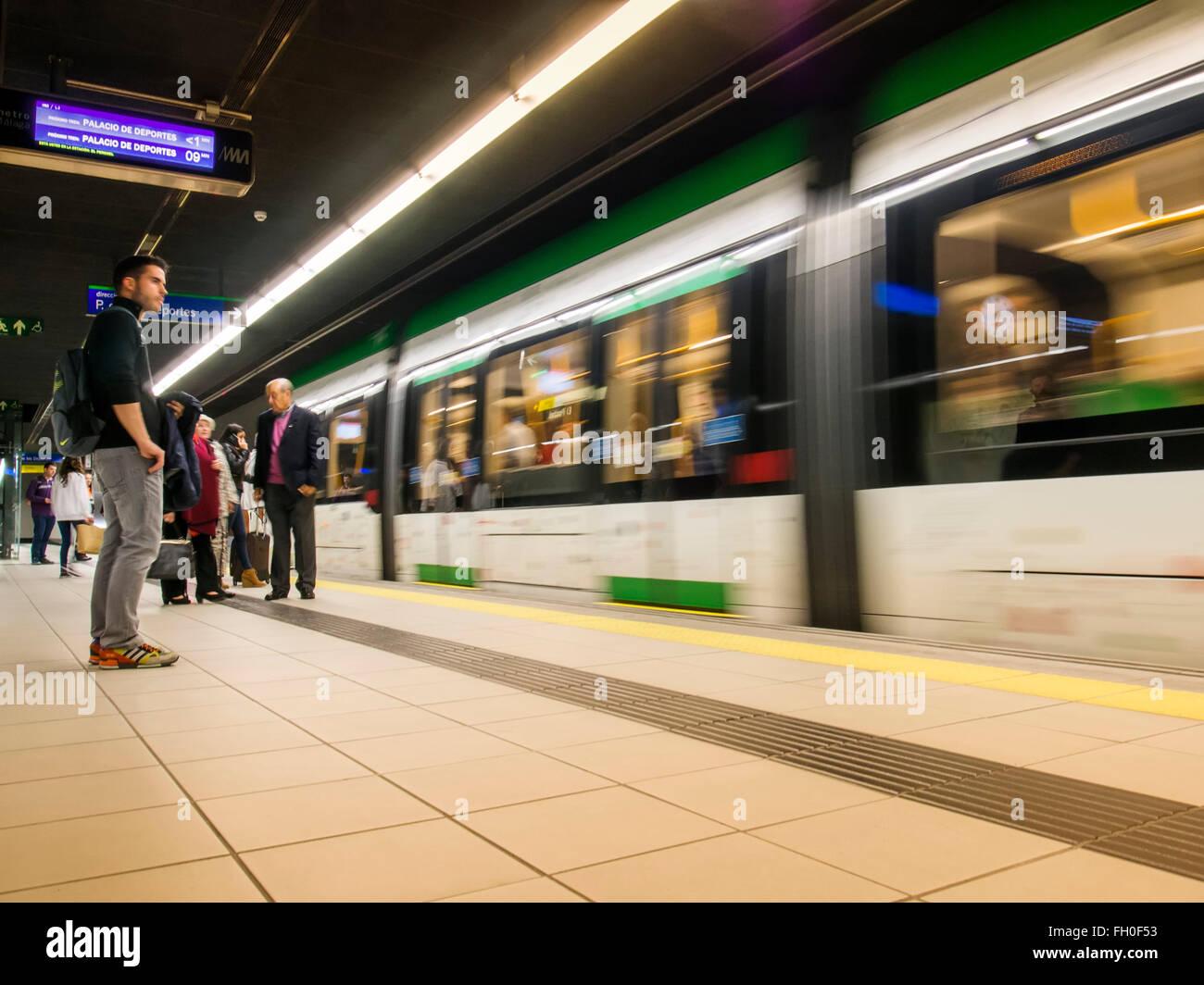 Metro subway station, Malaga city Costa del Sol. Andalusia southern Spain - Stock Image