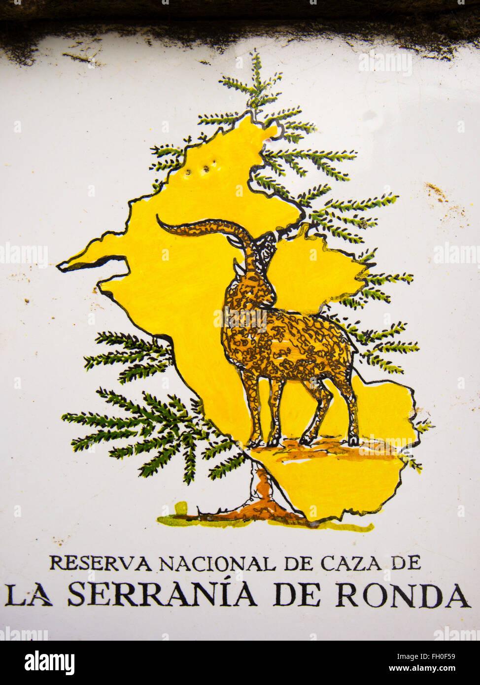 Ceramic tiles, Serrania de Ronda national game reserve, Ojen. Malaga province, Costa del Sol. Andalusia southern - Stock Image