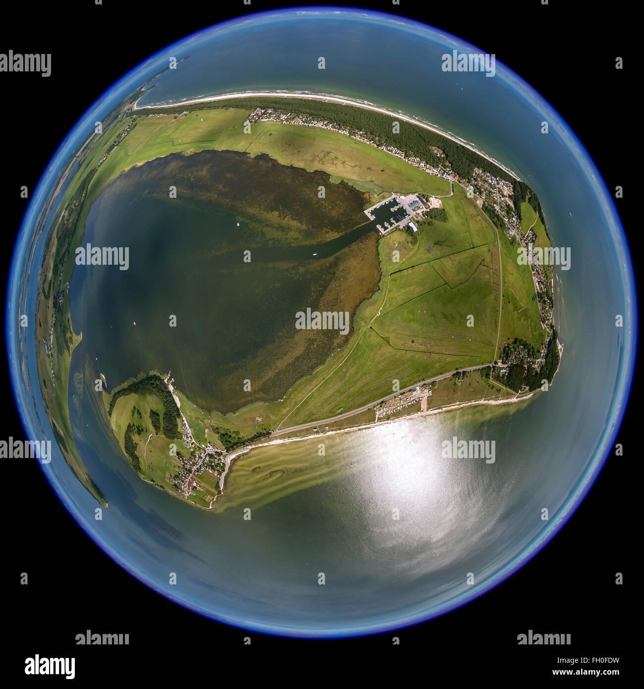 Aerial view, Southeast Rügen Biosphere Reserve, Thiessow, island the Mönchgut, Südperd, Zicker Lake, - Stock Image