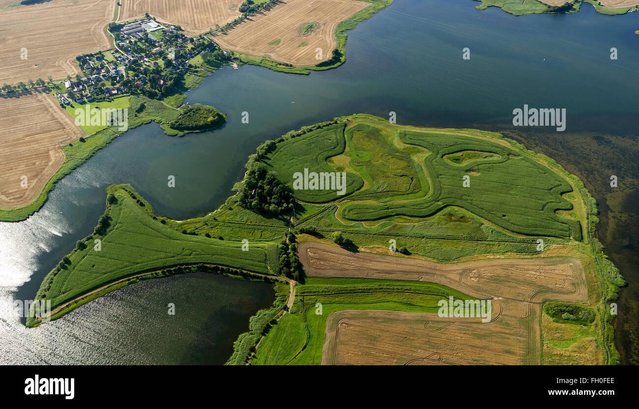 Aerial view, Zudar, Schoritzer Wiek, Heidekaten, Maya Fish, part of the island in the form of a fish, Garz / Rügen, - Stock Image