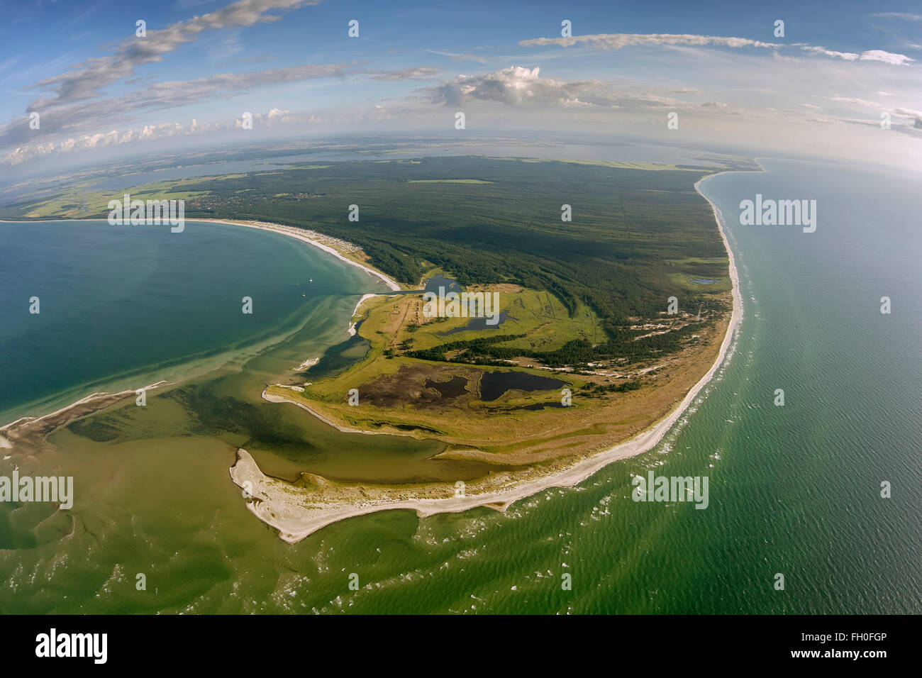 Aerial view, Darsser Ort, Darßer Ort, Baltic, Libbertsee, West beach on the Darss, national park Darsser-place - Stock Image