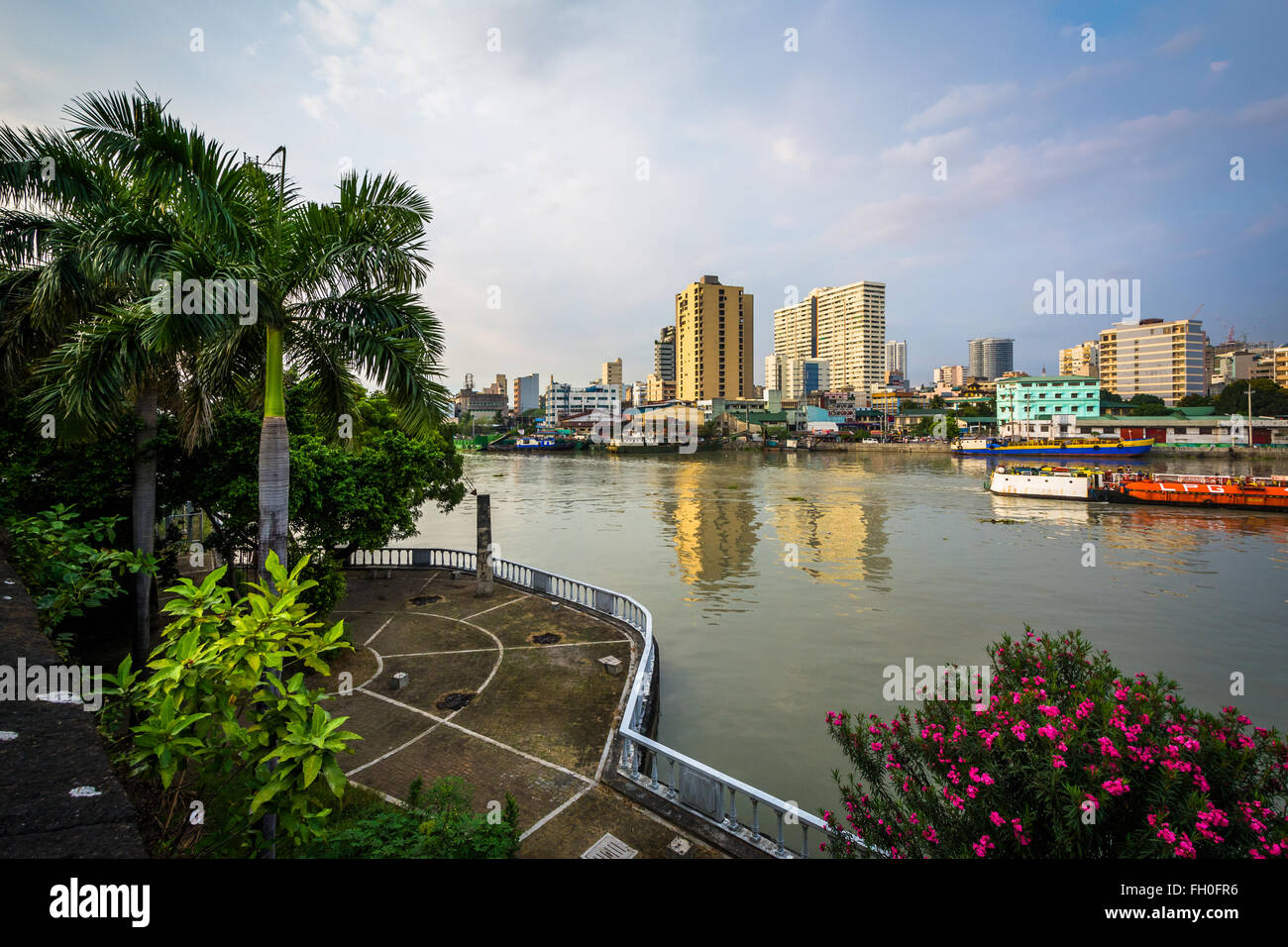 View of the Pasig River at Fort Santiago, in Intramuros, Manila, The Philippines. - Stock Image