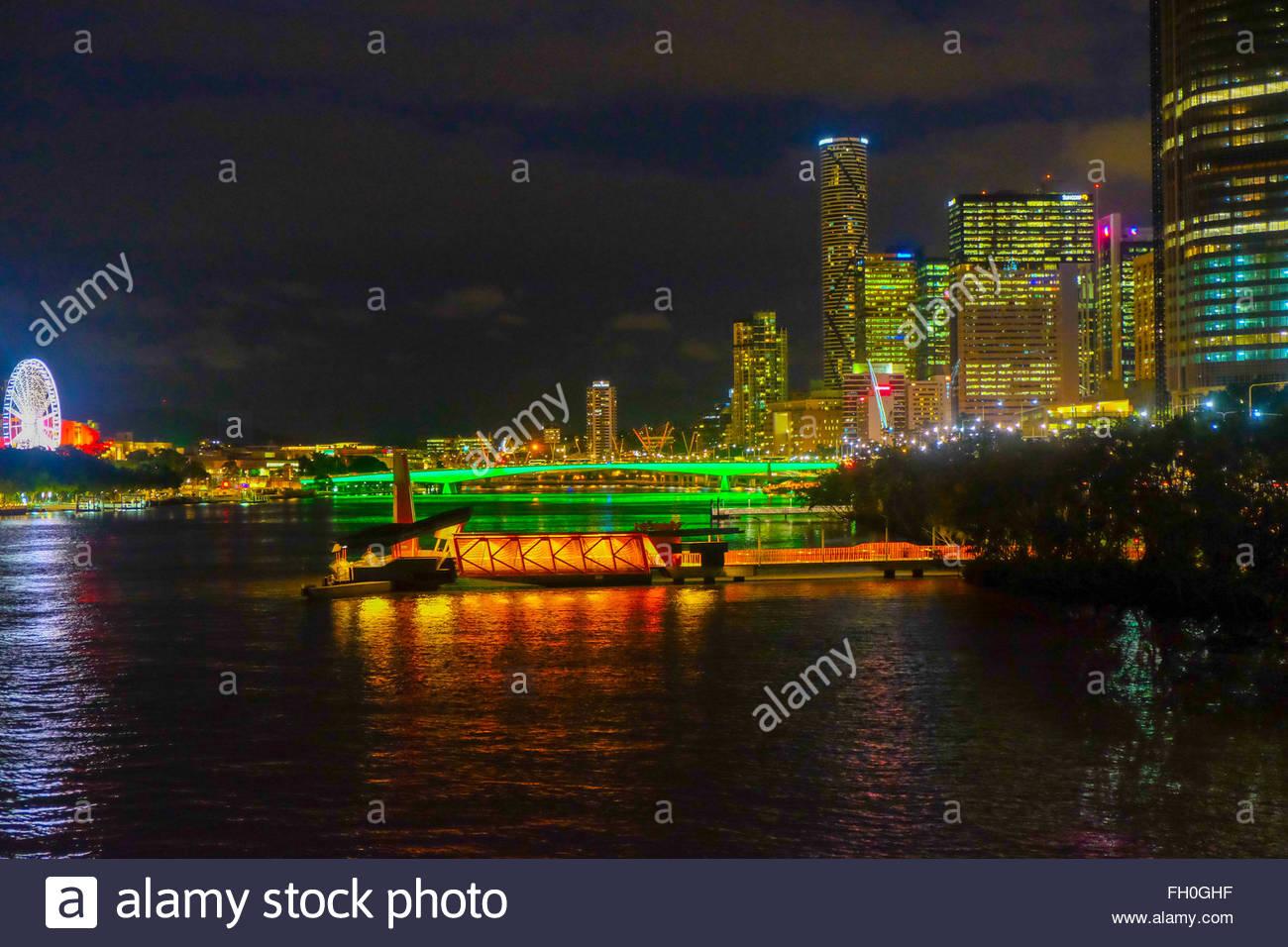 Looking up from Goodwill bridge to Victoria Bridge, Brisbane - Stock Image