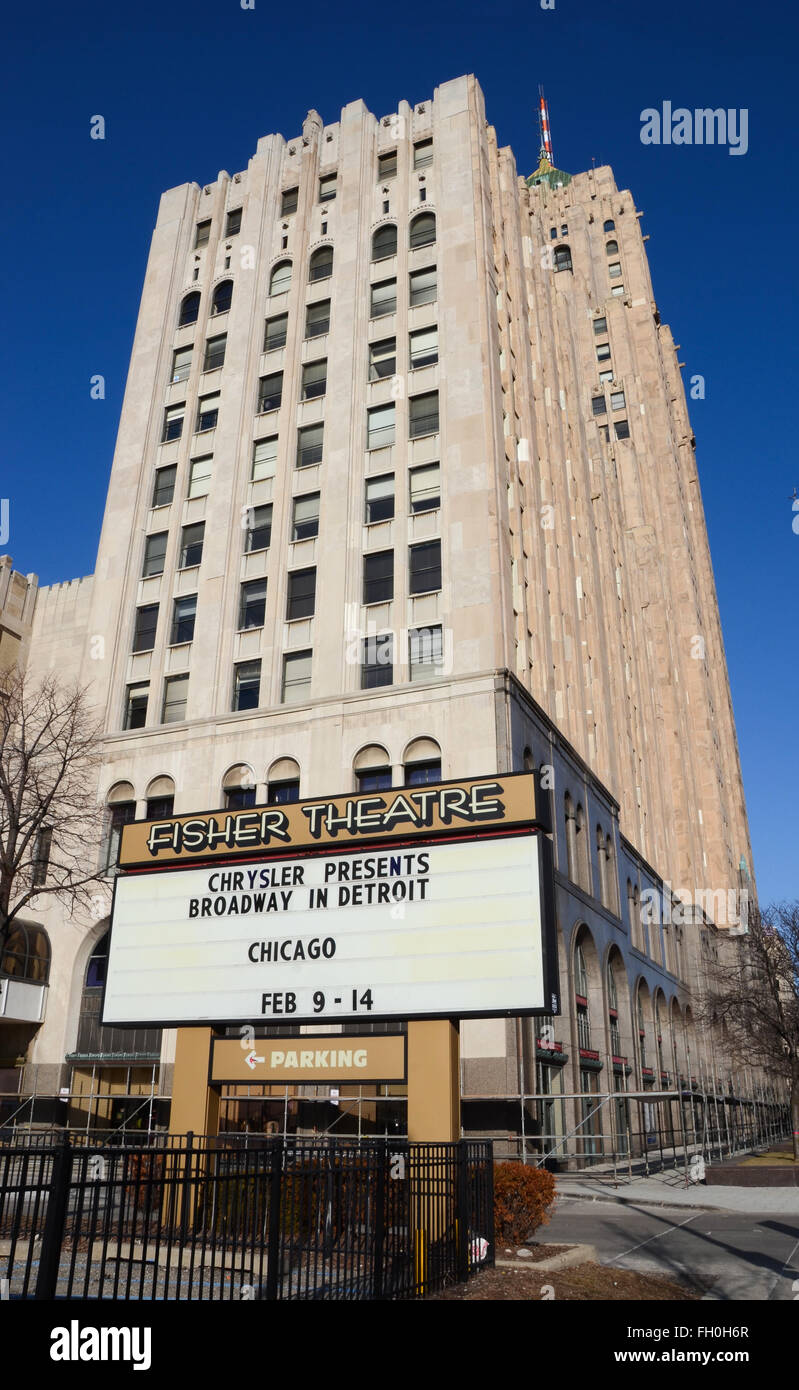 DETROIT, MI - FEBRUARY 6:  The Fisher Theater, shown on February 6, 2016, is one of Detroit's oldest live theatre - Stock Image