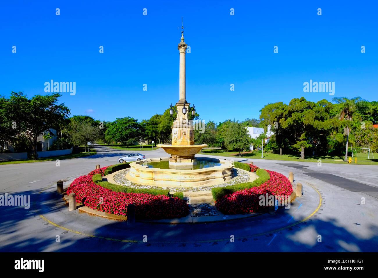 De Soto Fountain in De Soto Plaza near the Biltmore hotel Miamia FL Florida - Stock Image