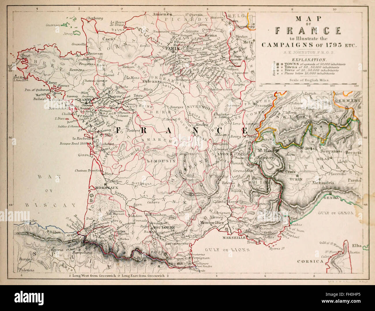 Map of France to illustrate the Campaigns of 1795 - Stock Image