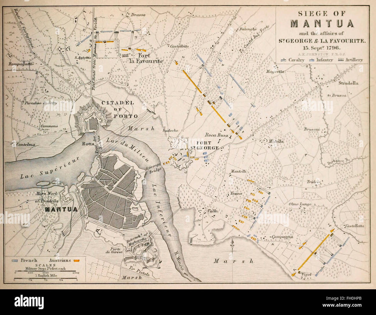 Map of Siege of Mantua - During the Siege of Mantua, which lasted from 4 July 1796 to 2 February 1797 with a short - Stock Image