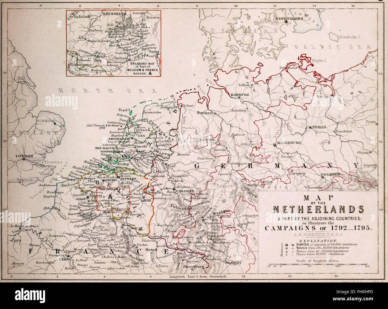 Map of the Netherlands and part of the adjoining countries to illustrate the Campaigns of 1792 - 1795. Wars of French - Stock Image