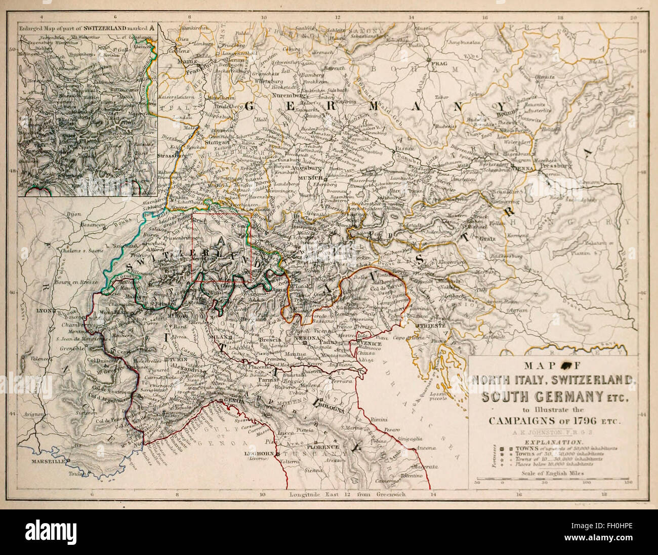 Map of North Italy Switzerland South Germany etc to illustrate