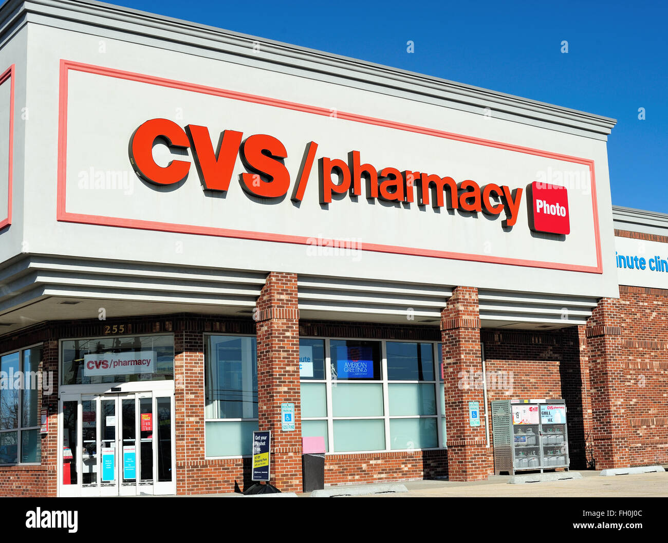 A CVS Pharmacy (drug store, chemist) and franchise found throughout the United States. South Elgin, Illinois, USA. - Stock Image