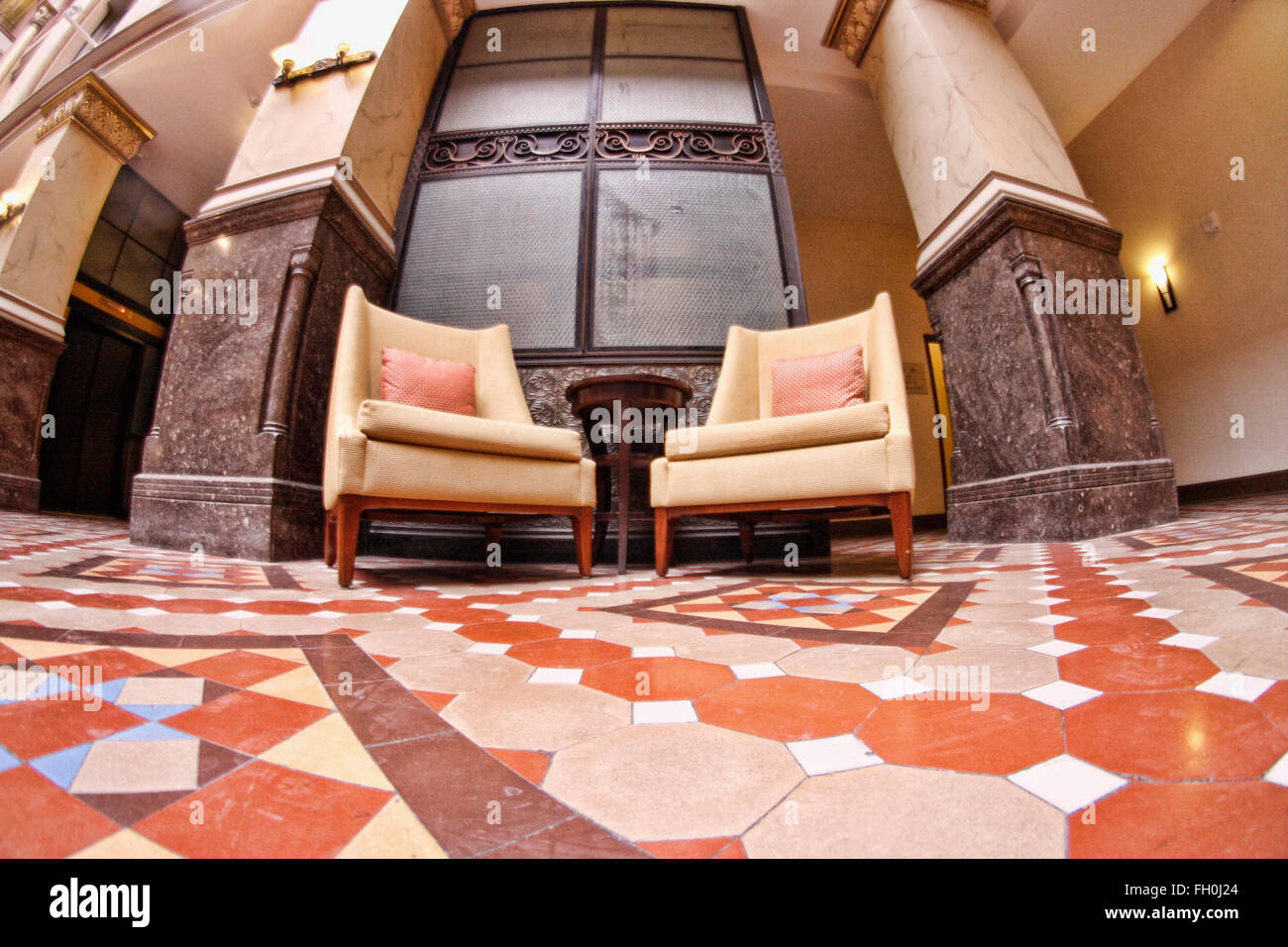 Two Lobby Chairs In A Vintage Hotel In Milwaukee Wi Stock Photo