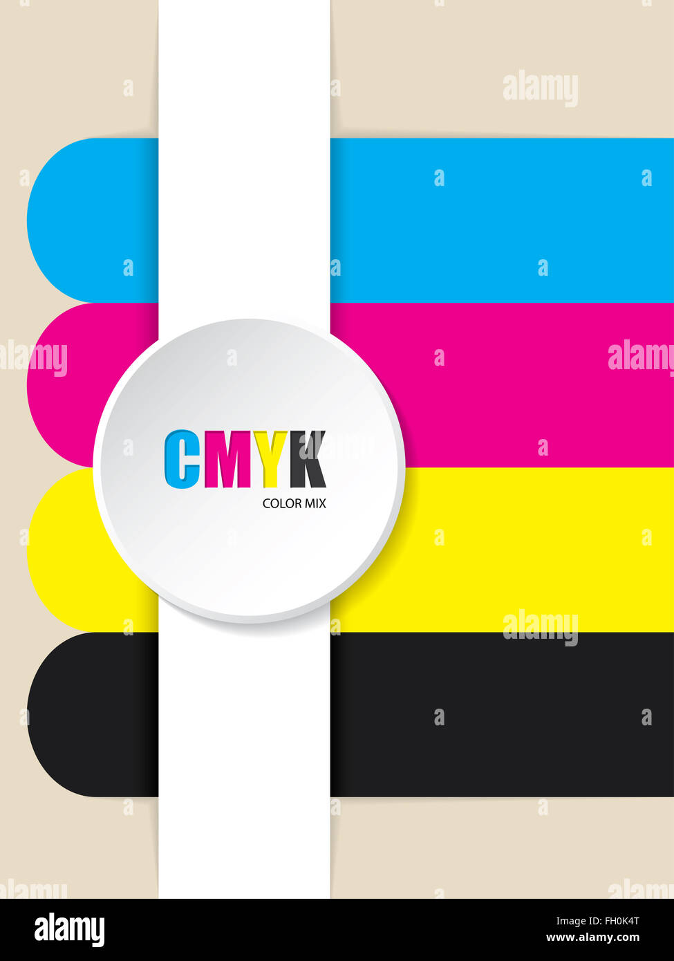 Abstract cmyk stripes background with 3d button - Stock Image