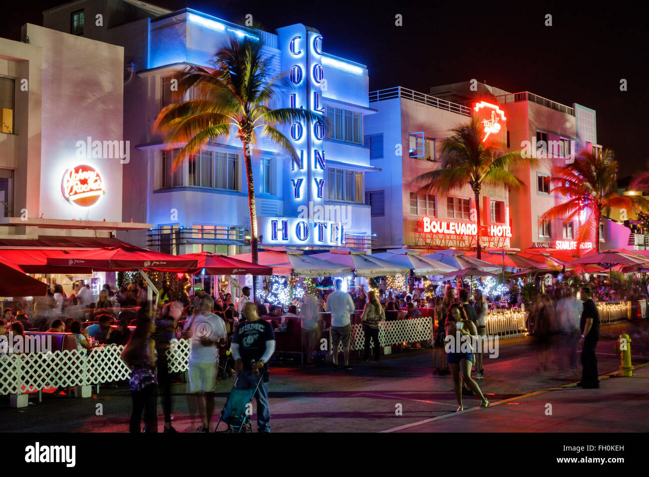 Miami Beach Florida Ocean Drive New Years Eve Art Deco District Style Night Nightlife Neon Signs Colony Boulevard Hotels Hotel