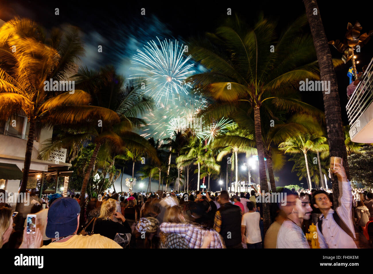 Miami Beach Florida Ocean Drive New Year's Eve celebration ...