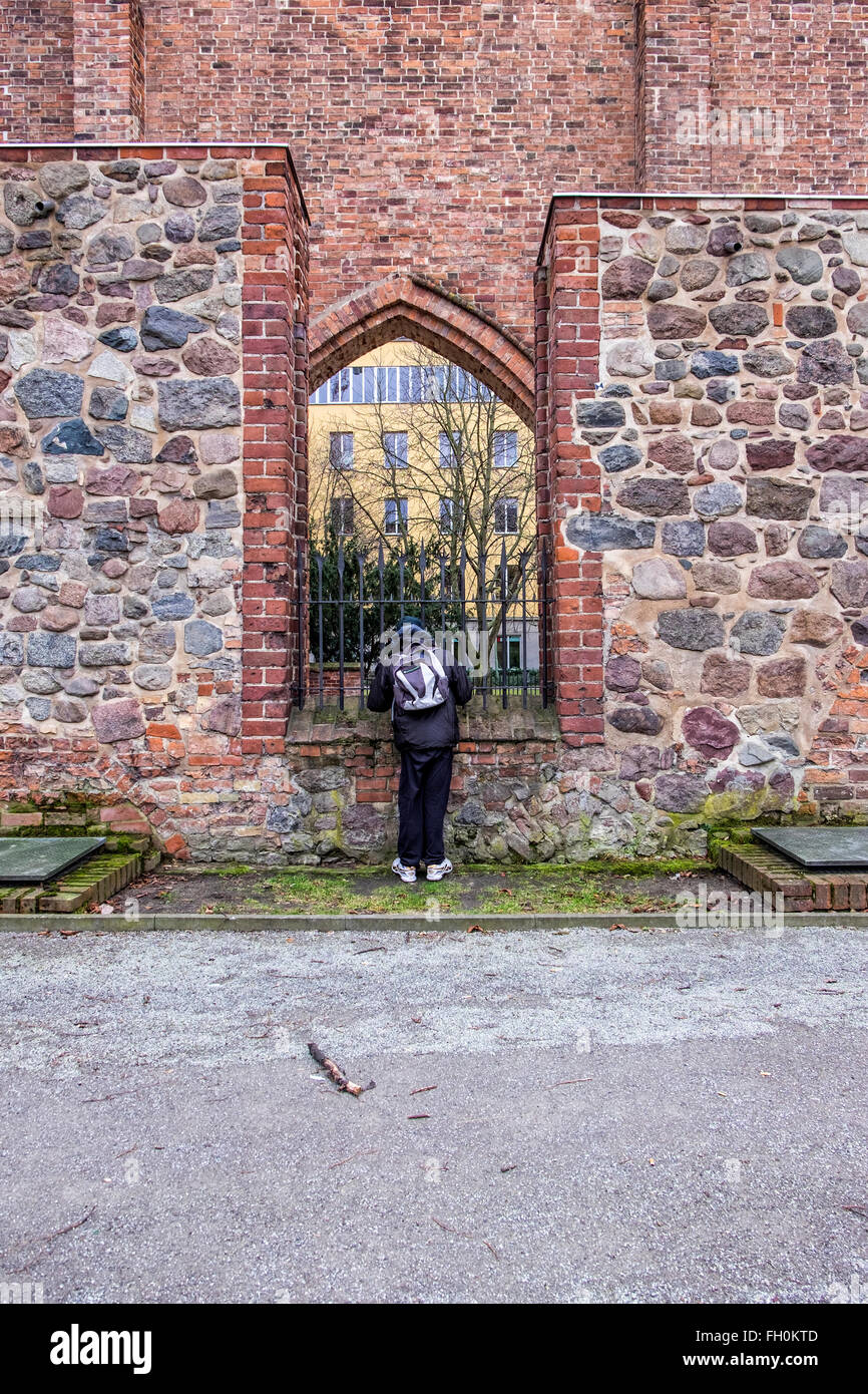 Berlin Franciscan Abbey, Franziskaner-Klosterkirche. old man looking at Ruins of mediaeval monastery - Stock Image