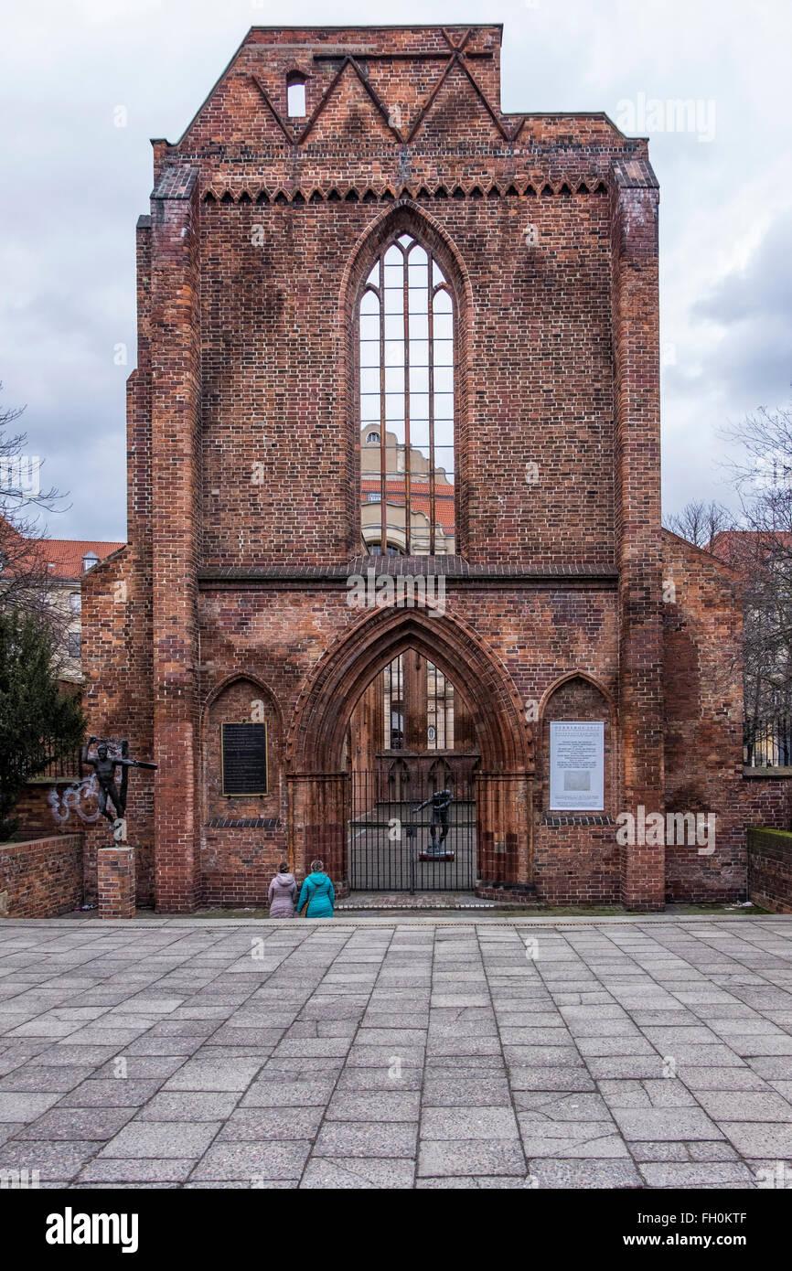 Berlin Franciscan Abbey, Franziskaner-Klosterkirche. Anterior facade of Ruins of mediaeval monastery in Berlin's - Stock Image