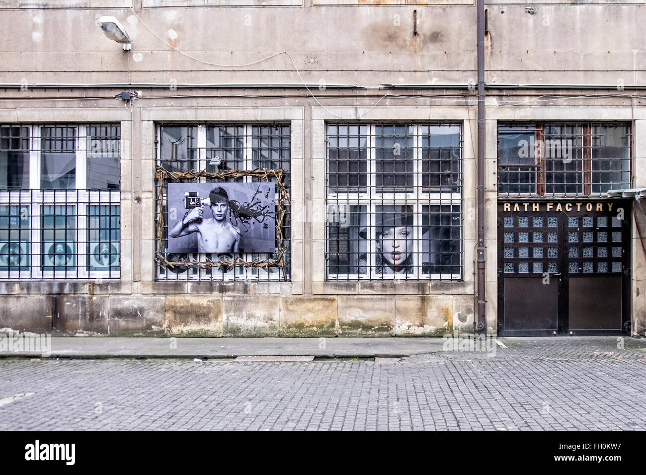 Studio and workshop of Photographer, Oliver Rath in Berlin. Rath Factory exterior with photographs. - Stock Image
