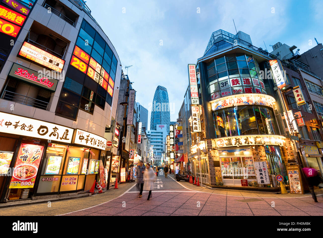 Tokyo; Japan -January 10; 2016: Street view of Nishi Shinjuku Shopping street whith several Japanese Restaurants Stock Photo