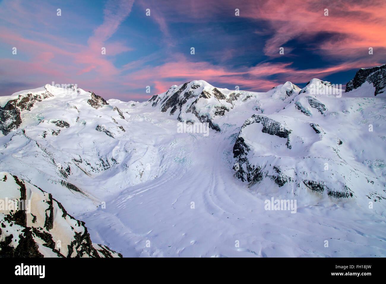 Sunset view over Monte Rosa and Gorner glacier, Zermatt, Wallis or Valais, Switzerland - Stock Image