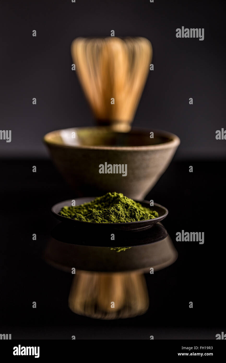 Matcha fine powdered green tea Stock Photo