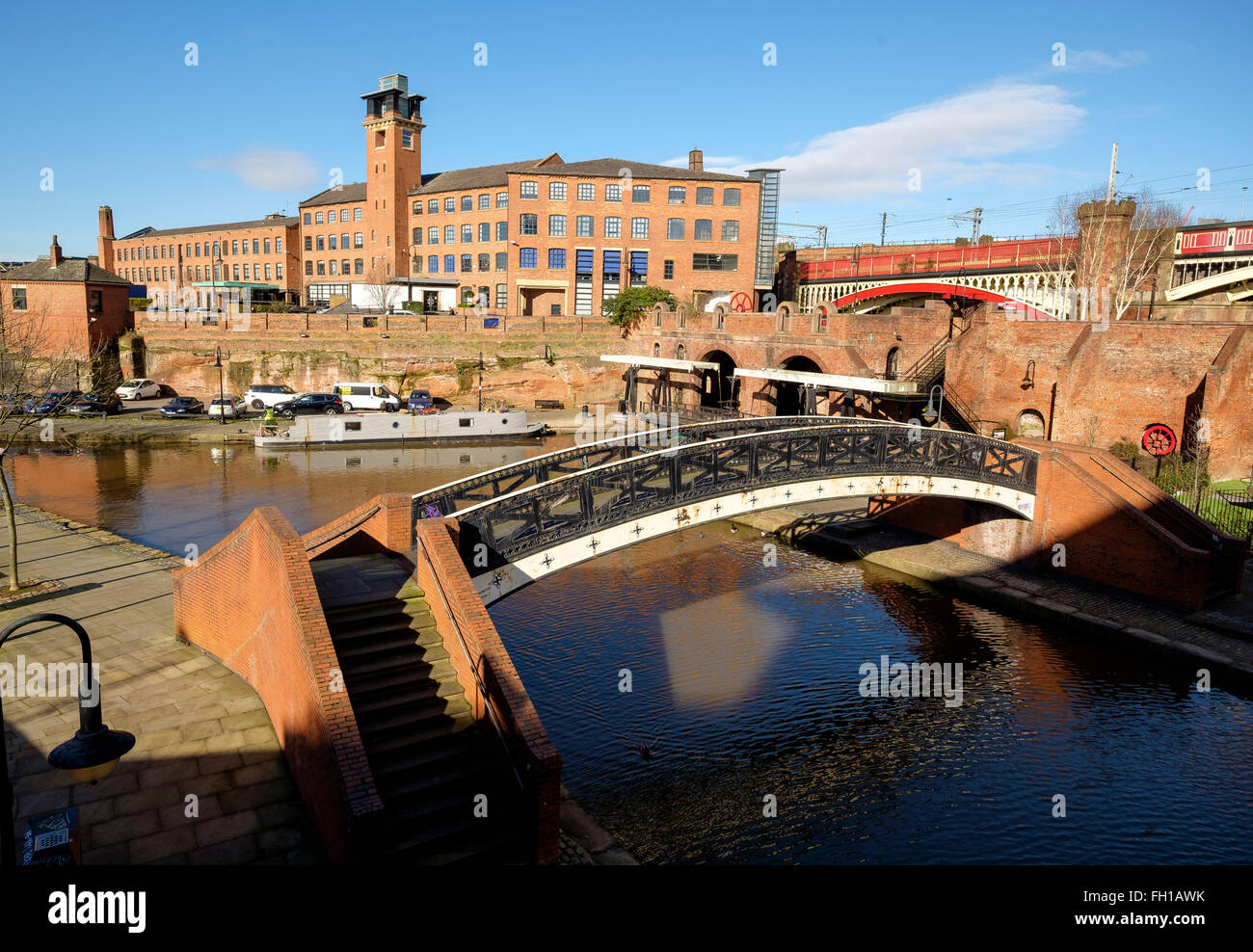 Manchester, UK - 15 February 2016: The end of the Bridgewater Canal at the inner city conservation area of Castlefield. - Stock Image