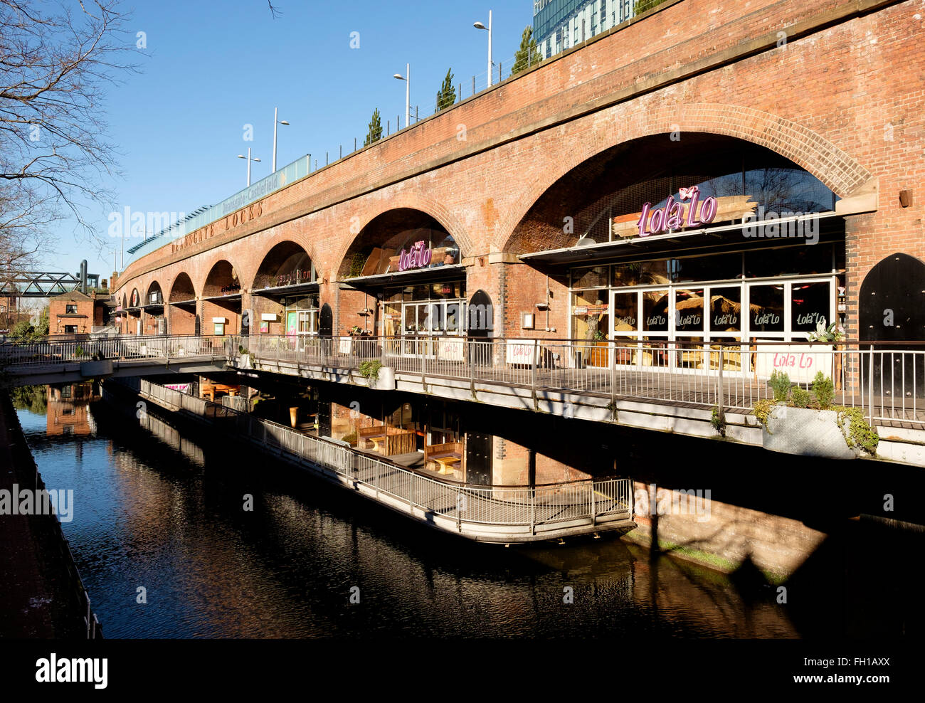 Manchester, UK - 15 February 2016: The businesses of the Deansgate Locks are almost deserted in the middle of the - Stock Image