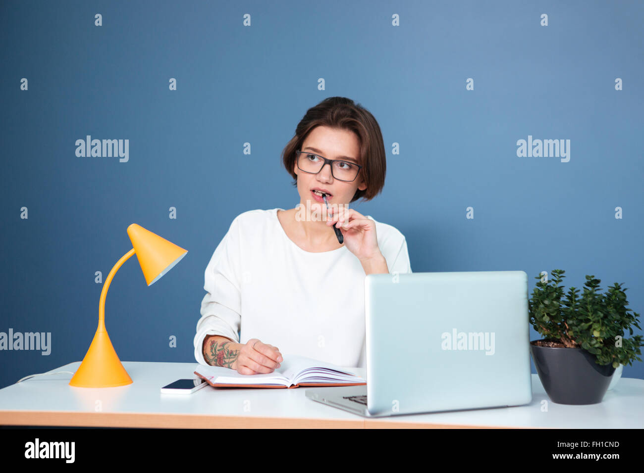 Workplace Computer Table Lamp Plant Stock Photos & Workplace ...