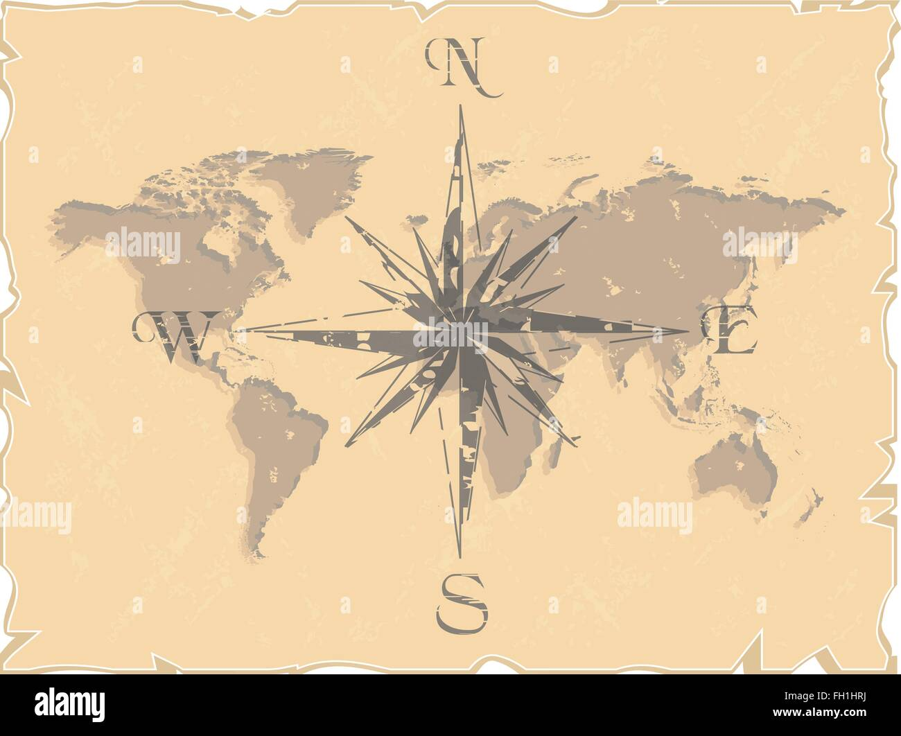 world map with compass Stock Vector Art & Illustration, Vector