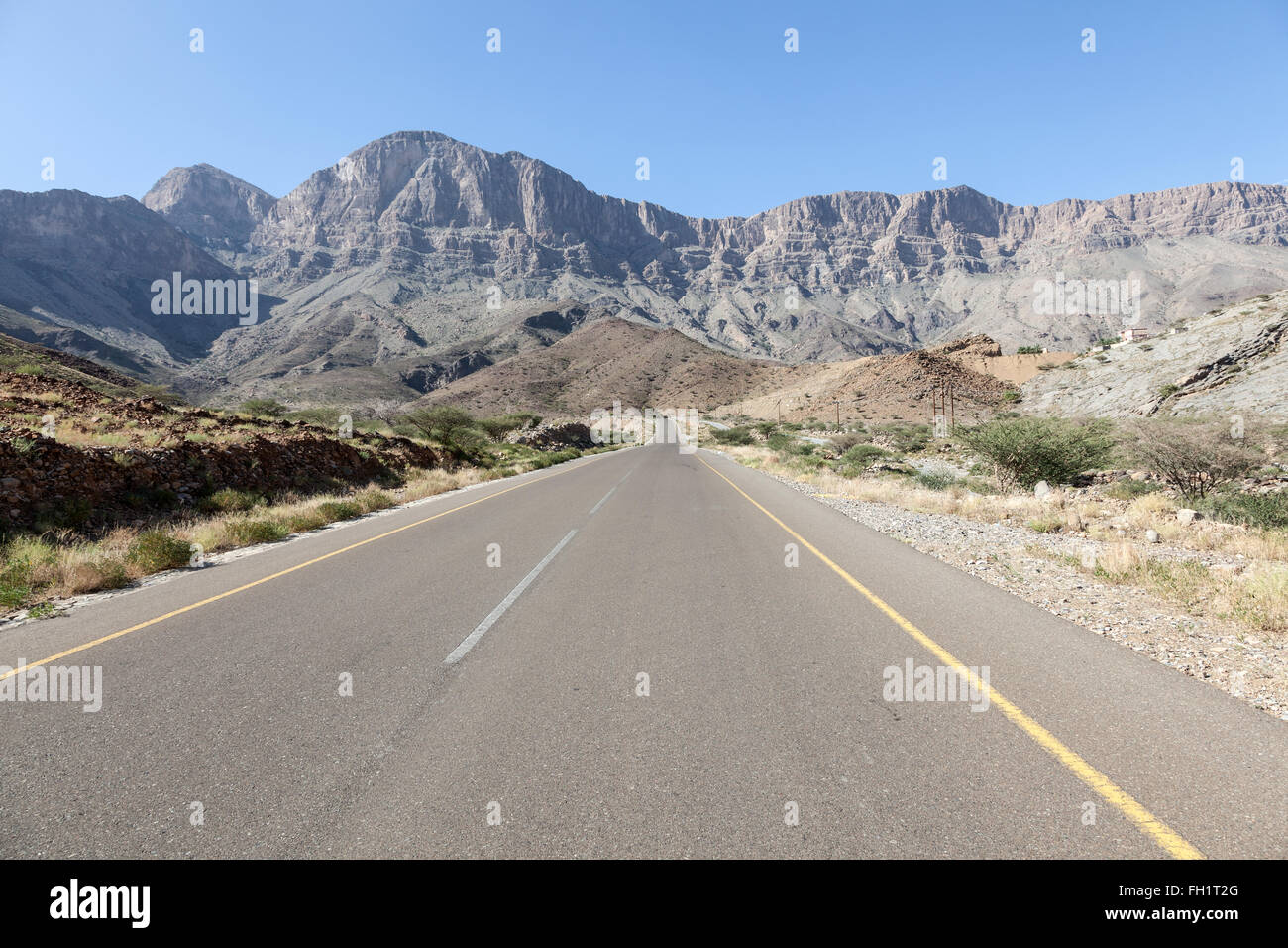 Road in the Hajar mountains, Sultanate of Oman, Middle East - Stock Image