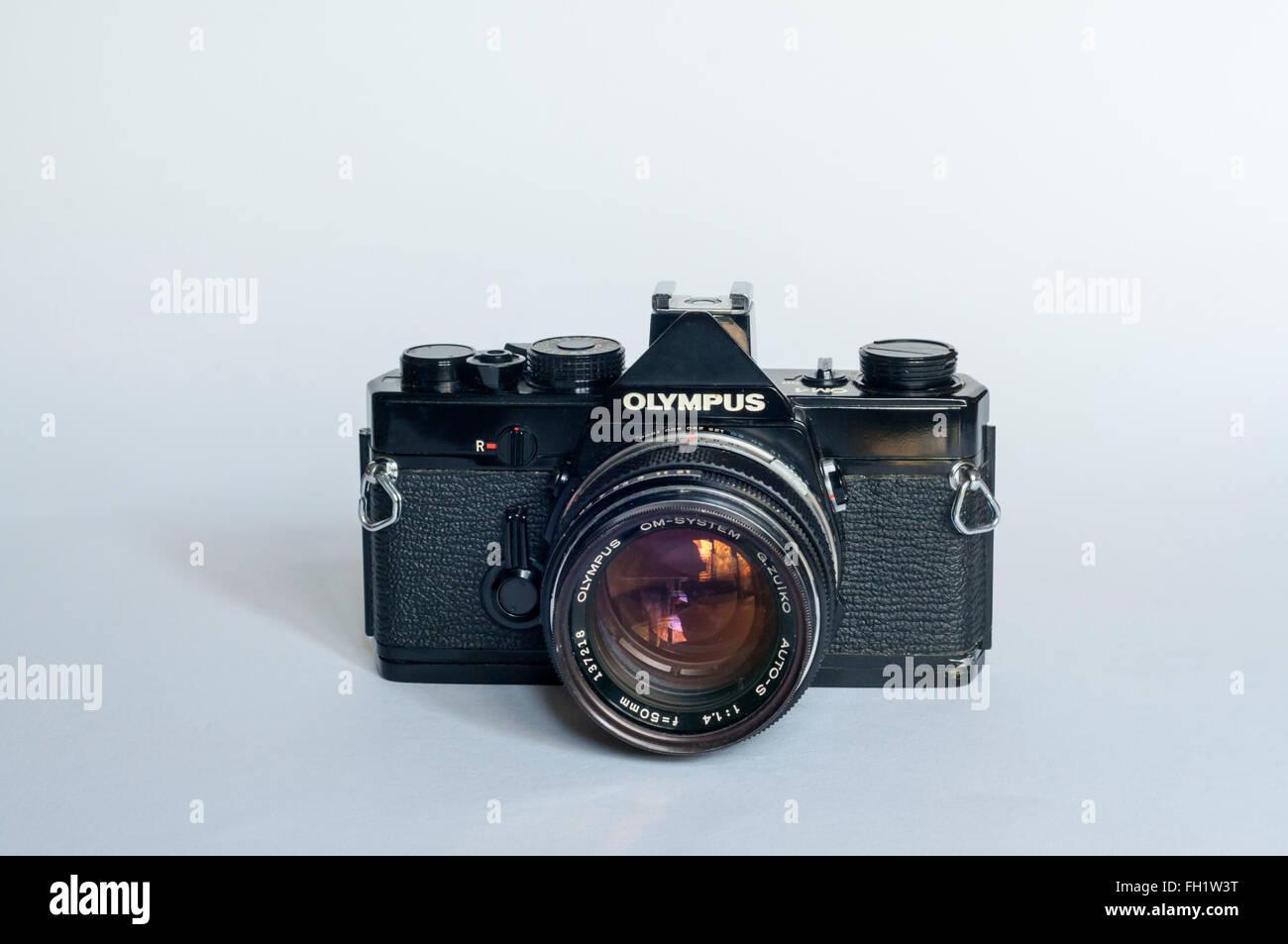 An Olympus OM1 single lens reflex film camera. - Stock Image
